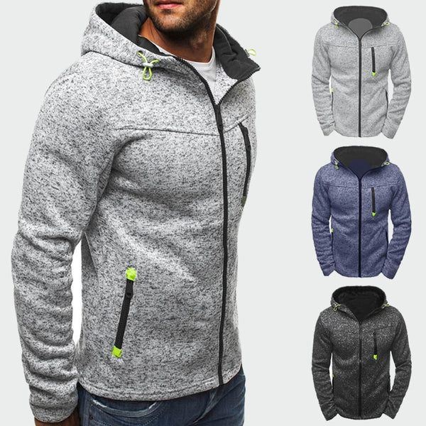 Spring Autumn Men's Jackets Hooded Coats Casual Zipper Sweatshirts Tracksuit Fashion Outerwear - JustRed.co.uk