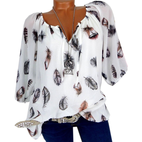 Fashion 5XL Plus Large Size Women's Blouses Summer Tops New Leisure Blouse White Loose Feather Print V Neck Half Sleeve Shirts - JustRed.co.uk