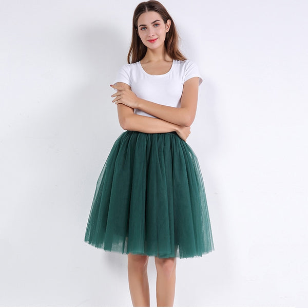 5 Layers 60cm Princess Midi Tulle Skirt Pleated Dance Tutu Skirts Womens Lolita Petticoat Jupe Saia faldas Denim Party Skirts - JustRed.co.uk
