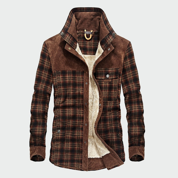 Military Shirt Men Casual Winter Wool Fleece Thick Warm Plaid - JustRed.co.uk