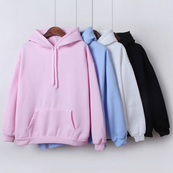 2019 New Social Harajuku Hoodies For Girls Solid Color Hooded Tops Women's Sweatshirt Long-sleeved Winter Velvet Thickening Coat - JustRed.co.uk