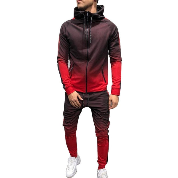 Puimentiua Zipper Tracksuit Men Set Sporting 2 Pieces Sweatsuit Men Clothes Printed Hooded Hoodies Jacket Pants Track Suits Male - JustRed.co.uk
