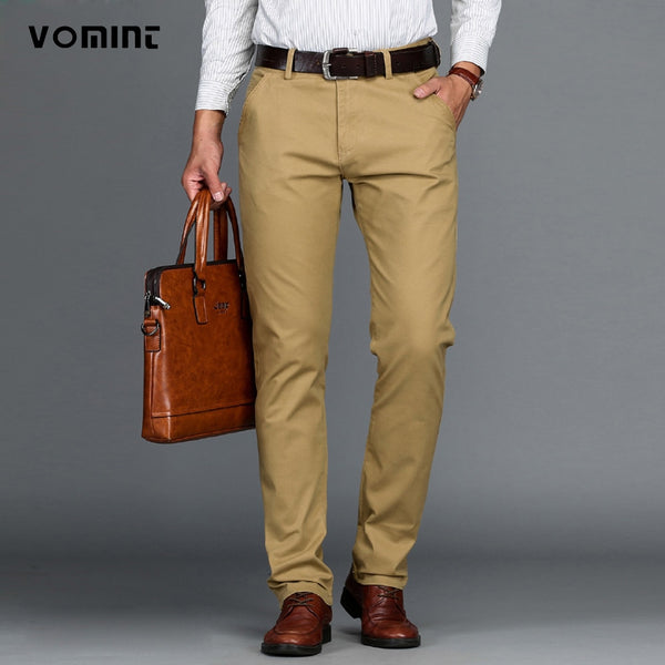 VOMINT Mens Pants High Quality Cotton Casual Pants Stretch male trousers man long Straight 4 color Plus size pant suit  42 44 46 - JustRed.co.uk