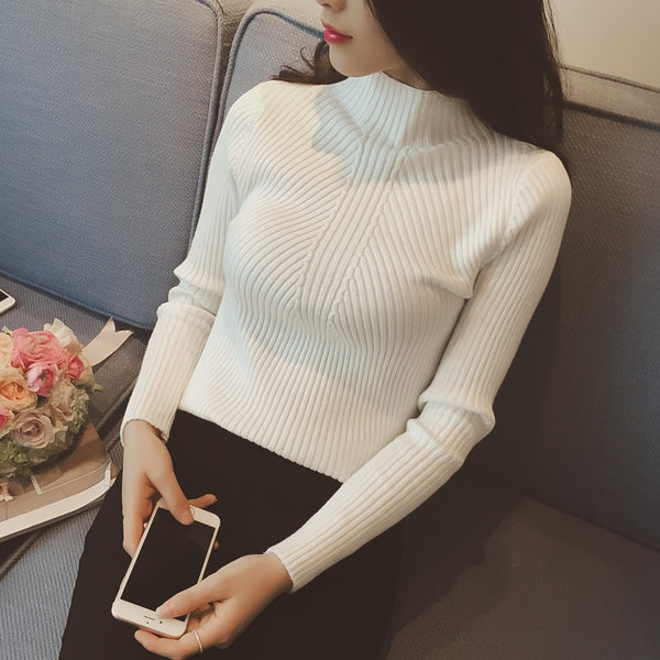 Women's Turtleneck Sweater Fashion Jersey Winter Autumn Pullover Sweater Jumper Truien Dames - JustRed.co.uk
