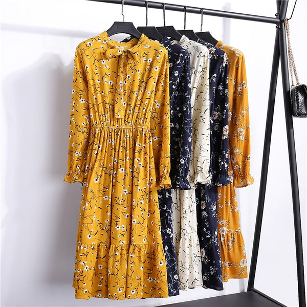 29 Colors Beautiful Fashion Spring Autumn Women Long Sleeved Dress Retro Collar Casual Slim Floral - JustRed.co.uk