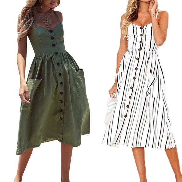 Casual Vintage Sundress Women Summer Dress 2019 Boho Sexy Dress Midi Button Backless Polka Dot Striped Floral Beach Dress Female - JustRed.co.uk