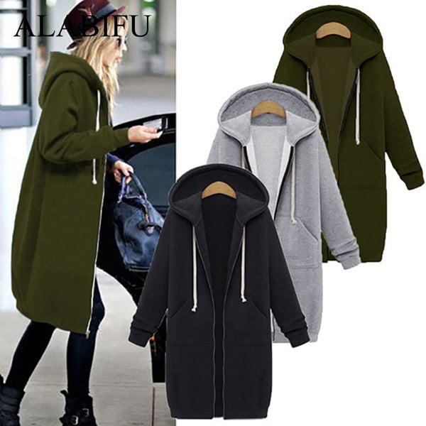 ALABIFU Spring 2019 bts Hoodie Zipper Long Coat Sweatshirt Women Plus Size 5XL Casual Loose Oversized Jacket Coat Women Hoodies - JustRed.co.uk