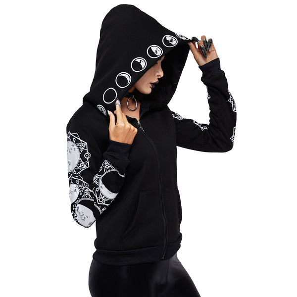 2018 Gothic Women Hoodie Casual Long Sleeve Hooded zip-up Sweatshirts Hooded Female Jumper Women Tracksuits Hoodie - JustRed.co.uk