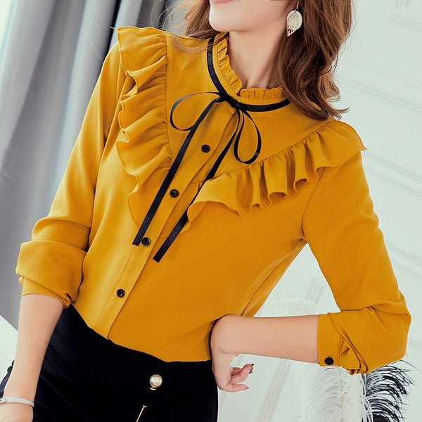 Spring Autumn 2019 Women White Shirt Long Sleeve Shirts Korean Ruffles Women Streetwear Slim Chiffon Blouse Elegant Ladies Tops