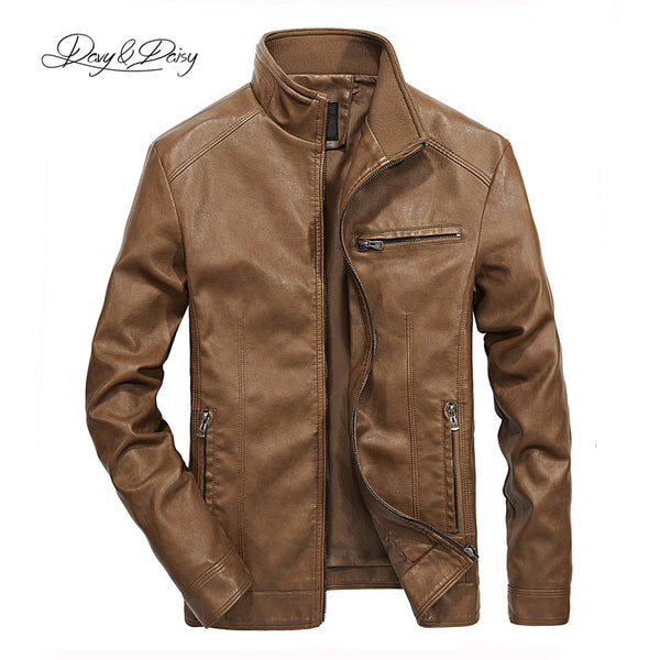 DAVYDAISY 2019 High Quality PU Leather Jackets Men Autumn Solid Stand Collar Fashion Men Jacket Jaqueta Masculina 5XL DCT-245 - JustRed.co.uk