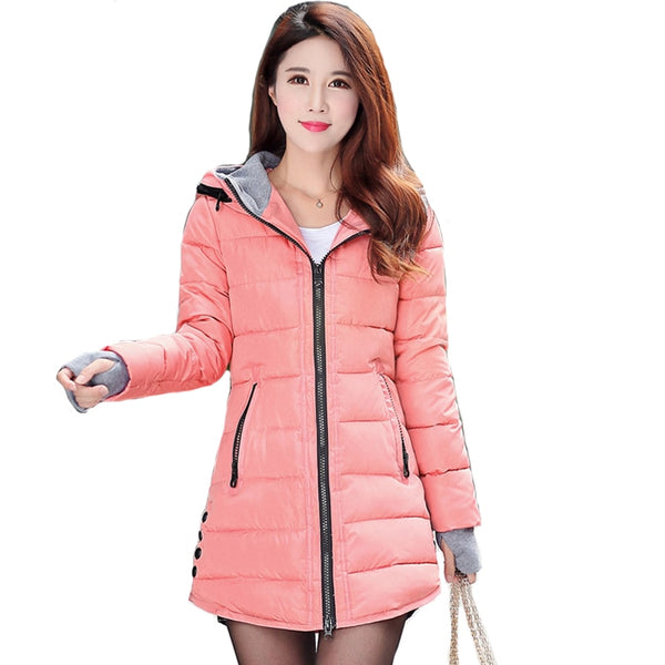 2019 women winter hooded warm coat plus size candy color cotton padded jacket female long parka womens wadded jaqueta feminina - JustRed.co.uk