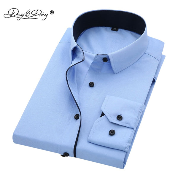 DAVYDAISY High Quality Men Shirt Long Sleeve Twill Solid Formal Business Shirt Brand Man Dress Shirts DS085 - JustRed.co.uk