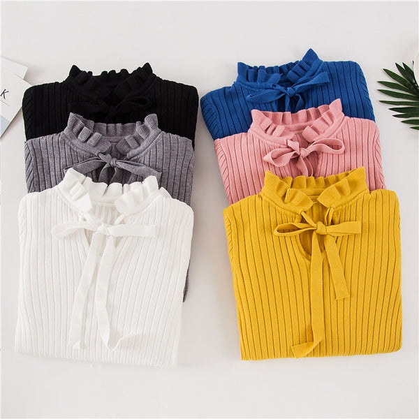 Casual Spring & Winter Women Slim Sweater Knitted Lace Up Flare Long Sleeve Ruffle Knitting Pullover - JustRed.co.uk