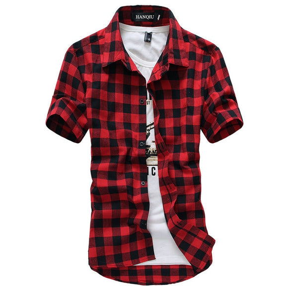 Red And Black Plaid Shirt Summer Fashion Chemise Homme Checkered Short Sleeve Shirt Men - JustRed.co.uk