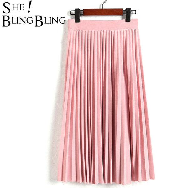 SheBlingBling Spring Autumn Fashion Women's High Waist Pleated Solid Color Half Length Elastic Skirt Promotions Lady Black Pink - JustRed.co.uk