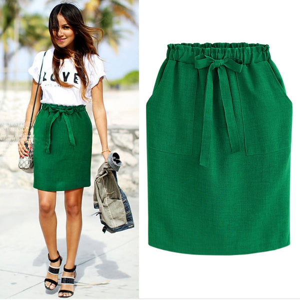 2019 New Spring Summer Elegant Midi Skirts Womens Office Pencil Skirt Cotton Elastic Waist Package Hip Skirt Bow Skirt Green - JustRed.co.uk