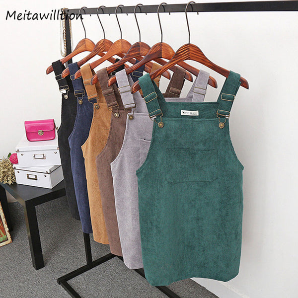 2019 Women Retro Corduroy Dress Autumn Spring Suspender Sundress Sarafan Loose Vest Overall Dress Female Natural Casual Dresses - JustRed.co.uk