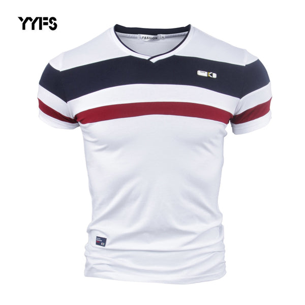 YYFS Men Short Sleeve T Shirts for Man 2018 New Summer 100% Pure Cotton Vintage Patchwork Tees V neck Cotton tshirt Homme M-4XL - JustRed.co.uk