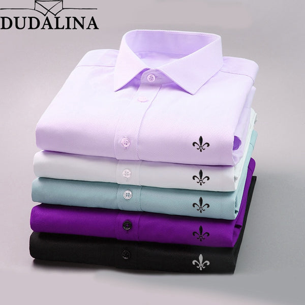 DUDALINA 2019 Men Casual Long Sleeved Solid shirt Slim Fit Male Social Business Dress Shirt Brand Men Clothing Soft Comfortable - JustRed.co.uk