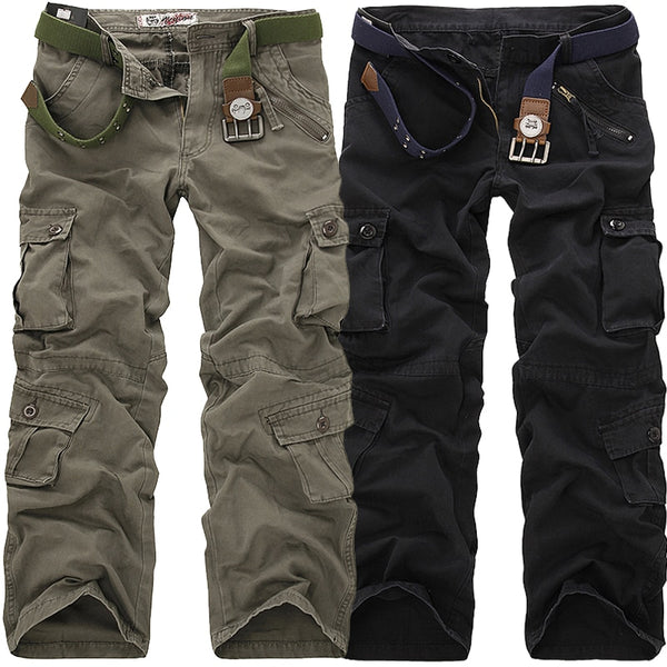 2019 High Quality Men's Cargo Pants Casual Loose Multi Pocket Military Pants Long Trousers for Men Camo Joggers Plus Size 28-40 - JustRed.co.uk