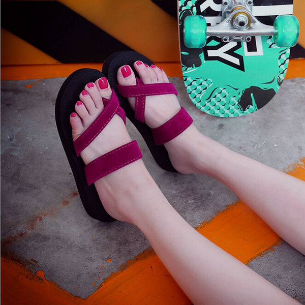 Ladies Casual Flats Shoes Outdoor Flip Flops Summer Beach Sandal Slippers Women sapato feminino - JustRed.co.uk