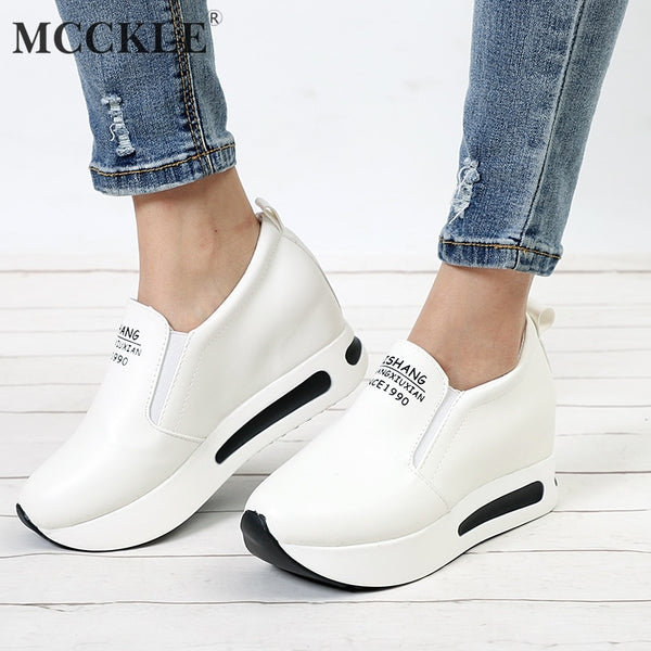 MCCKLE Women Creepers Spring Increasing Height Shoes Casual Slip On Moccasins Platform Wedge Heel Fashion Elastic Band Footwear - JustRed.co.uk
