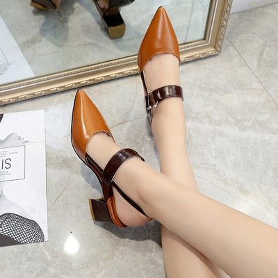 2019 spring hollow coarse sandals high-heeled shallow mouth pointed pumps shoes women Female sexy high heels large size mujer - JustRed.co.uk