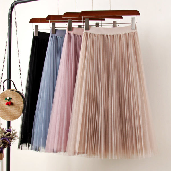 Tulle Skirts Womens Midi Pleated Skirt Black Pink Tulle Skirt Women 2019 Spring Summer Korean Elastic High Waist Mesh Tutu Skirt - JustRed.co.uk