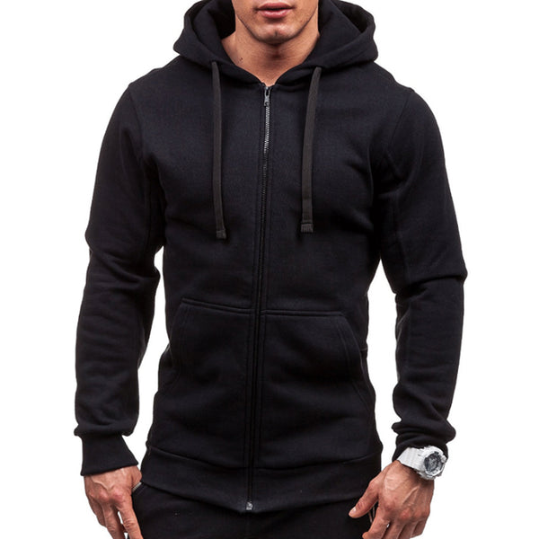 Men Hoodies Jacket Spring Summer Drawstring Zipper Sweatshirt Long Sleeve Pocket Pullover Plus Size - JustRed.co.uk