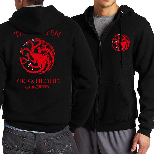 Game of Thrones Zipper Dragon Wolf Cool Printing Zipper Hoodies Hoodie Man Fleece Warm Spring Autumn Tracksuit Casual Sportswear - JustRed.co.uk