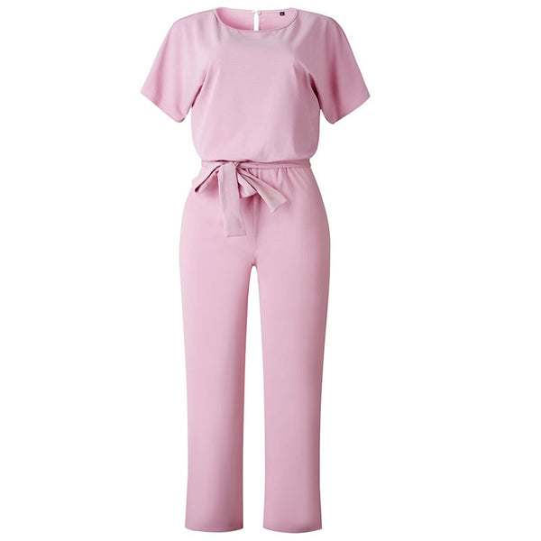 Work Office Women Jumpsuit 2019 Spring Fashion Sexy Overall Loose Solid Long Playsuit Lace Up Sashes Jumpsuit Rompers New M0403 - JustRed.co.uk