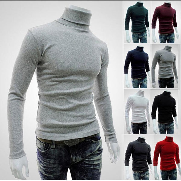 Autumn Winter Men's Sweater Turtleneck Solid Color Casual Slim Fit Brand Knitted Pullovers - JustRed.co.uk