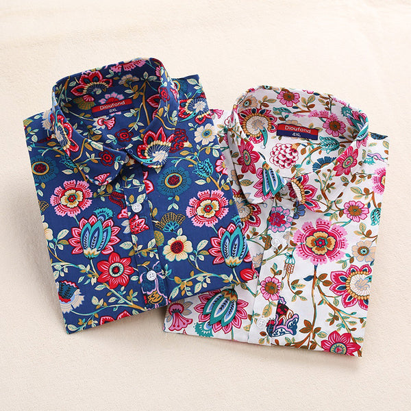 Floral Women Blouses Long Sleeve Shirt Cotton Women Shirts Cherry Casual Ladies Tops Animal Print Blouse Plus Size 5XL