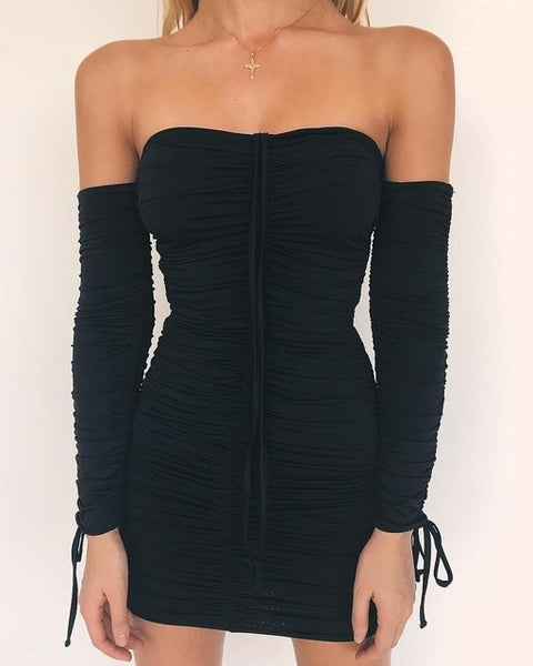Articat  Women Autumn Winter Bandage Dress Women 2018 Sexy Off Shoulder Long Sleeve Slim  Elastic Bodycon Party Dresses Vestidos - JustRed.co.uk
