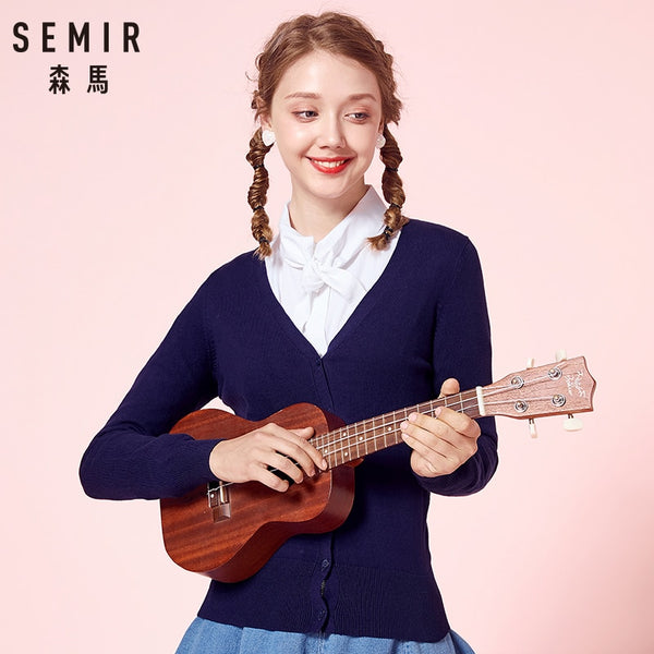 SEMIR Knitted Cardigan sweater Women 2019 Spring Simple Solid Straight Bottom Clothing Sweater Fashion Cardigan for Female - JustRed.co.uk