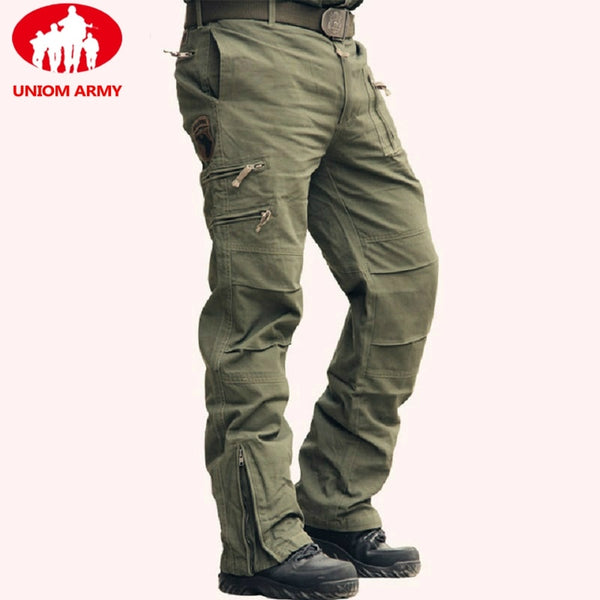 Tactical Pants Army Male Camo Jogger Plus Size Cotton Trousers Many Pocket Zip Military Style Camouflage Black Men's Cargo Pants - JustRed.co.uk