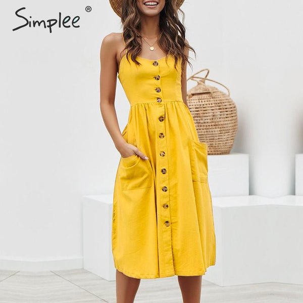 Simplee Elegant button women dress yellow cotton midi dress Summer casual female lady beach vestidos
