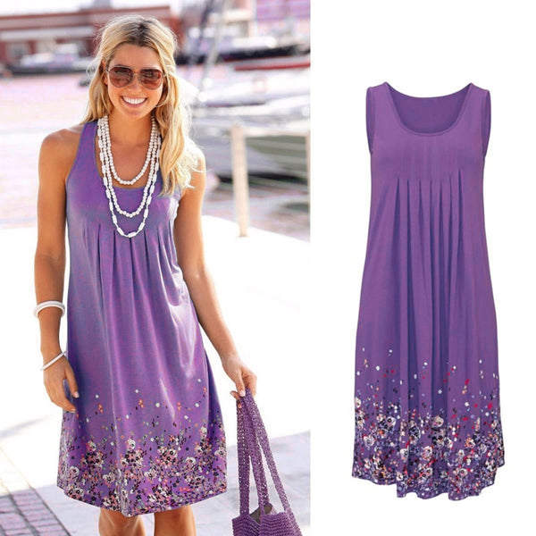 Sleeveless Floral Print Loose Summer Dress Fashion Six Colors Casual Women Plus Size S-5XL