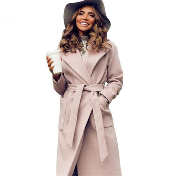 MVGIRLRU elegant Long Women's coat lapel 2 pockets belted Jackets solid color coats Female Outerwear - JustRed.co.uk