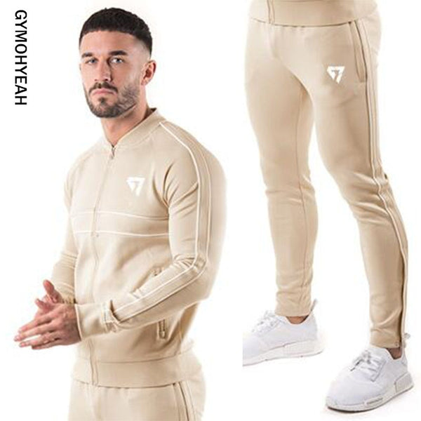 GYMOHYEAH brand brand sporting suit men Suit Men Hoodies Sets Mens Gyms Sportswear Jogger Suit Male Tracksuit sets - JustRed.co.uk