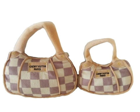 Checker Chewy Vuiton Handbag Dog Toy