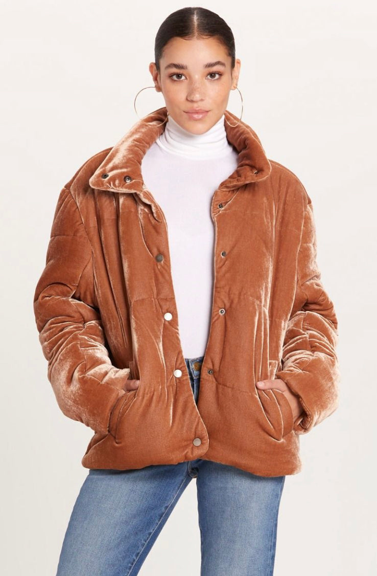 Brown Sugar Velvet Puffer Jacket