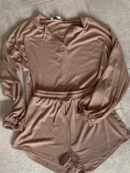 Henley Top and Shorts Lounge Set