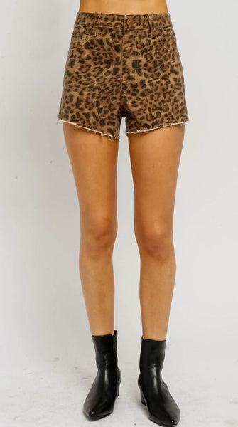 Leopard Denim Shorts