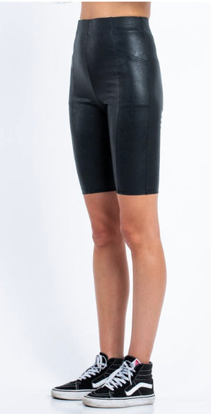 Christine Faux Leather Bike Shorts - Poppy&Stitch