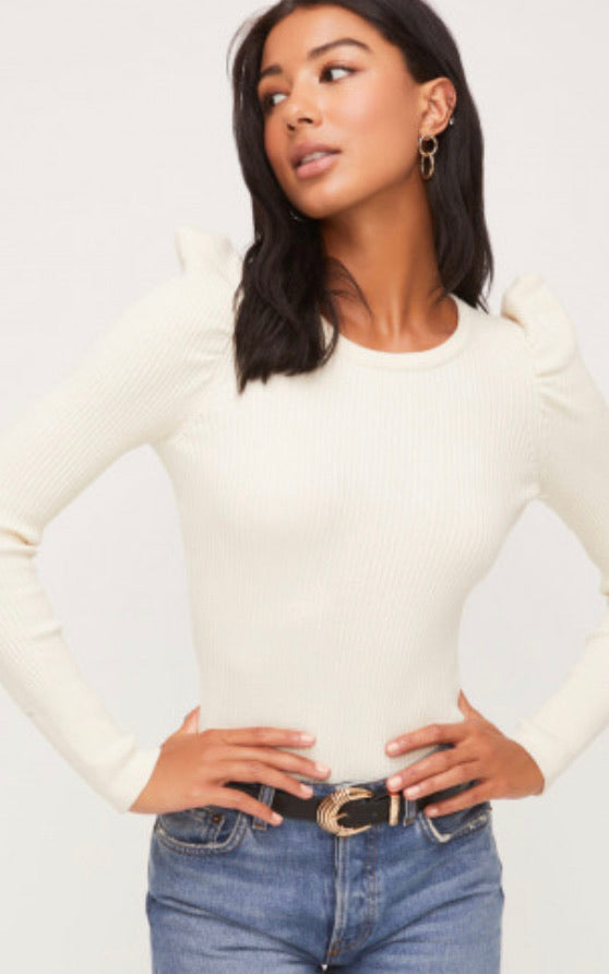 Paige Puff Sleeve Ribbed Sweater Top - Ivory