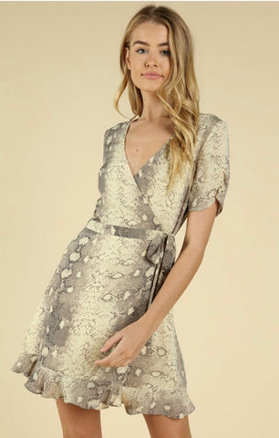 Snake Print Wrap Dress - Poppy&Stitch