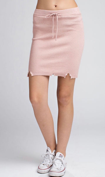 Blushing Distressed Knit Skirt - Poppy&Stitch