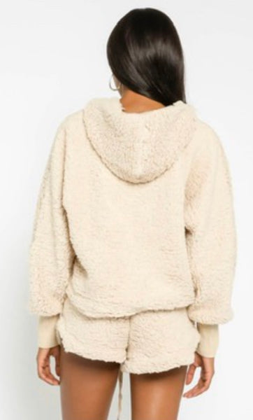 Teddy Sherpa Hoodie and Shorts Set