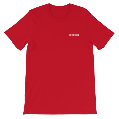 red tshirt, tee with white hightemptations logo